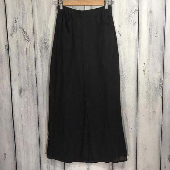c534b84912 Flax Dresses   Skirts - Flax 100% Linen Womens Maxi Skirt Black Pockets